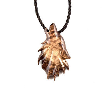 Wolf Necklace, Wolf Pendant, Mens Wolf Necklace, Wooden Wolf Pendant, Hawling Wolf Totem Jewelry, Mens Tribal Necklace, Mens Tribal Jewelry