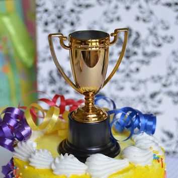 """Gold Trophy Cake Topper 4"""" Game Award Winner Trophies Cup Birthday Team Topper"""