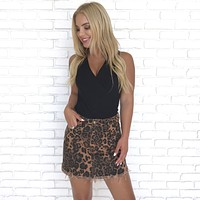 Wild Instincts Leopard Print Denim Mini Skirt