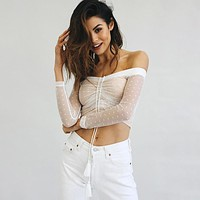Women Off Shoulder Crop Tops Polka Dots Gauze Perspective Long Sleeve Drawstring T-shirt