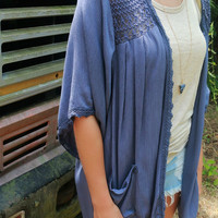 Light Of Day Slate Blue Kimono With Crochet Lace Trim and Pockets
