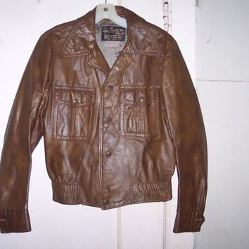vintage mens  The LEATHER SHOP  Sears  The mens store glov tanned leather  bomber style  jacket