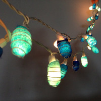 35 bulbs - Handmade Ocean Blue Cocoon string lights for Patio,Wedding,Party and Decoration