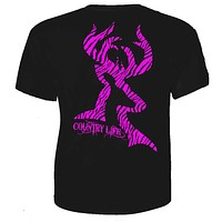 Sale Country Life Outfitters Black & Pink Zebra Deer Head Hunt Vintage Bright T Shirt