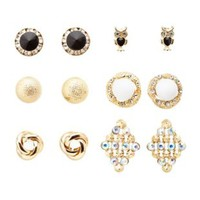 Statement Stud Earrings - 6 Pack by Charlotte Russe - Gold