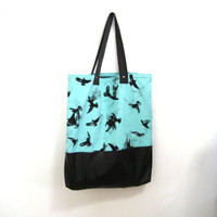 Brown Faux Leather and Mint Crows Tote Bag Color Block Soft Tote, Carry All Bag, Market Bag, Leather Beach Bag, Crows Raven Bird Print Bag