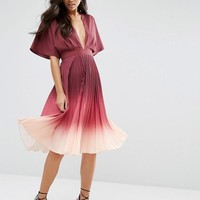 ASOS | ASOS Ombre Pleated Caftan Midi Dress at ASOS