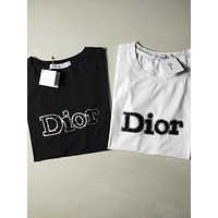 """Dior"" Unisex Lover Casual Fashion Letter Pattern   Print Short Sleeve T-shirt Tops"
