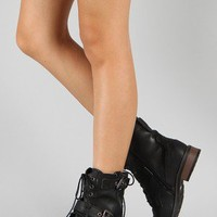Bamboo Battle-01 Buckle Lace Up Military Bootie