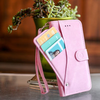 Mobovida Suede Credit Card Slideout Wallet Folio Case for Apple iPhone 6/6s Plus - Baby Pink