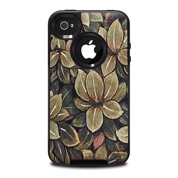 The Vintage Green Pastel Flower pattern Skin for the iPhone 4-4s OtterBox Commuter Case