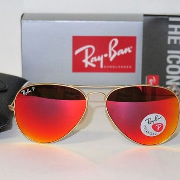Cheap NEW Authentic Ray Ban RB3025 112/4D 58mm POLARIZED Matte Gold/Orange Mirror lens