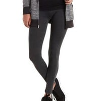 Gray Solid Stretch Cotton Leggings by Charlotte Russe