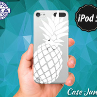White Pineapple Cutout Fruit Summer Inspired Cute Wanelo Rubber Transparent Clear Case For iPod Touch 5th Generation or iPod Touch 6th Gen