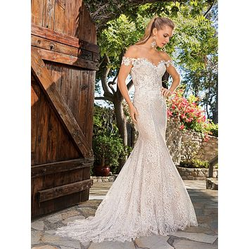 Casablanca 2365 Ella Off-the-Shoulder Lace Fit and Flare Wedding Dress