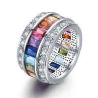 Rainbow Cubic Zirconia White Gold Plated Band Ring