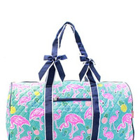 Flamingo Print Quilted Duffel Bag - 2 Color Choices