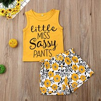 Toddler Summer Kid Girls Clothes Fashion Sleeveless Letter Print Top+Print Pants Girls Outfits Soft Kids Clothing For Girls Set