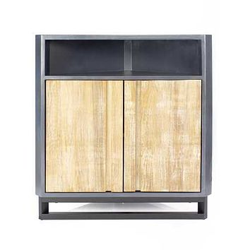 """31"""" X 17"""" X 32"""" Gray MDF, Wood, Metal Corner Cabinet with  Doors and a Shelf"""