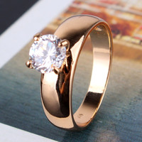 18K Gold Plated Round Cut White Swiss Zircon CZ Band Engagement Ring For Women Jewelry