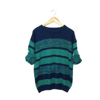 Green blue vintage sweater. Womens knit sweater. Loose knit sweater. SLOUCHY hipster retro STRIPED sweater. Quarter length Sleeves S M