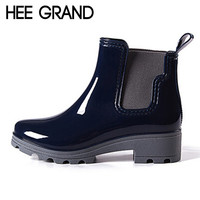 HEE GRAND Platform Rain Boots Ladies Rubber Ankle RainBoots Low Heels Women Slip On Pumps Shoes Woman Plus Size 36-41 XWX3577