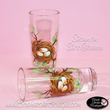 Hand Painted Shot Glasses - Birdnest - Original Designs by Cathy Kraemer