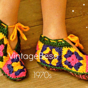 CROCHET Pattern Vintage - Granny Square Slippers - 1970s EASY and Comfortable Surefooted Slippers - Vintage Beso Instant Download  PDF