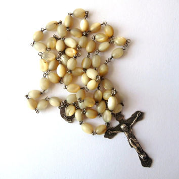 Antique Rosary Chain - Vintage - Silver Tone Metal and Marble Stone Balls
