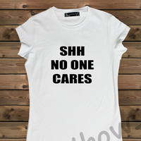 Women's T-shirt , Screenprinted Shh No One Cares on a Bike Ladies T-shirt,Screen Printing T shirt,Women's T-shirt,White T-shirt,Size S, M, L