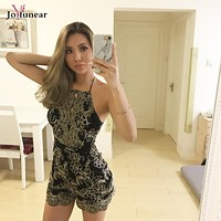 New arrive Sequin Backless Jumpsuit 2017 Summer women sexy club wear Gray Short pants rompers One piece  bandage jumpsuits