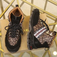 BURBERRY  Tor Trending Men Women's Black Leather Side Zip Lace-up Ankle Boots Shoes High Boots