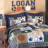 Boys Name Decal - Personalized Sports Wall Decal With Football Basketball Soccer Baseball And Volleyball For Boys Room 15H x 36W BN033
