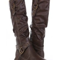 Brown Faux Leather Buckle Strapped Mid Calf Boots @ Amiclubwear Boots Catalog:women's winter boots,leather thigh high boots,black platform knee high boots,over the knee boots,Go Go boots,cowgirl boots,gladiator boots,womens dress boots,skirt boots,pink bo