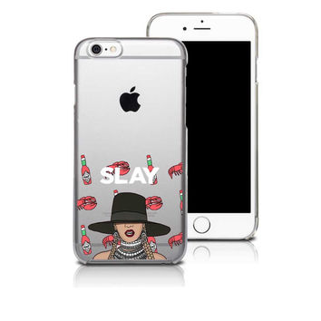 Beyonce Flawless Swag Slay Printed Transparent Plastic Hard Cover Case For iPhone 4 4S 5 5S 5C SE 6 6S 6 Plus 6S Plus