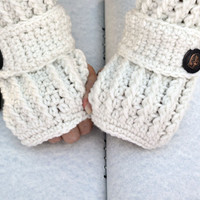 Egg shell white crochet  arm warmers, fingerless gloves ribbed with wrist strap and buttons