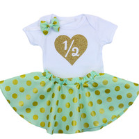 Mint & Gold 1/2 Birthday Twirl Skirt Outfit