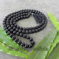 Genuine Black Onyx Necklace 8mm 108 Black Onyx Round Beads Unisex Handmade Rosary Necklace Japa Mala