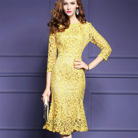 Hollow Out Knee-length Dress