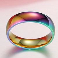 LGBT Rainbow Ring Gay Pride Colorful Men Women Titanium Stainless Steel Homosexual Couple Rings Jewelry Wedding Band Full Size