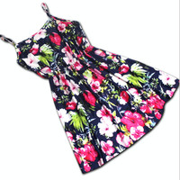 Casual Floral Printed Spaghetti Strap Mini Skater Dress