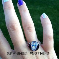 SUGAR SKULL  glass  Ring  adjustable ring, silver plated Limited