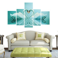 New Arrival 5 PCS HD Unframed Canvas Swan Print Home Bedroom Living Room Decor  Wall Art Painting Picture With Tools