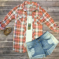 Penny Plaid Flannel Top: Salmon