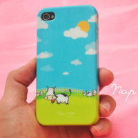 iphone 4 case , iphone 4s case , case for Iphone 4 mobile Case handmade: Cow Farm