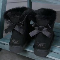 UGG : girl Large bow tie Keep warm Snow boots-3