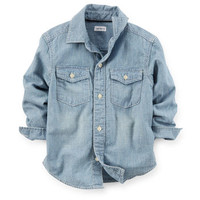 Button-Front Chambray Shirt