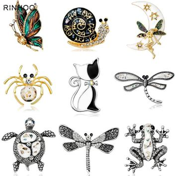 Vintage Simulated Pearl Crystal Cat Frog Bee Moon dragonfly butterfly Pin Brooch Antique Pin Women Brooch Pin Costume jewelry