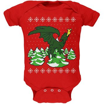 Ugly Christmas Sweater Dragon Winter Soft Baby One Piece