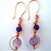 "Copper ""Allemande"" Handcrafted Earrings Wire Wrapped"